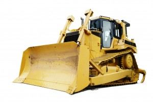Bulldozer isolated on white background. Major Dirtbox
