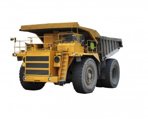 Dump truck isolated on white background. Major Dirtbox